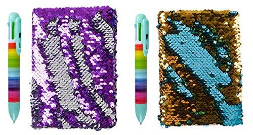 LightShine Products Reversible Sequin Journal Diary & Rainbow Shuttle Pen Bundle (2 Pens 1 Purple Diary & 1 Turquoise Diary) by LightShine Products