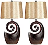 Janae Dark Brown Open Swirl Table Lamp Set of 2