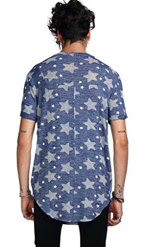 T Lunga 09 Uomo Mimetica Stelle Stampa Pizoff O A Modelli Casual Vari shirt C7037 Righe Urban dxqFawF
