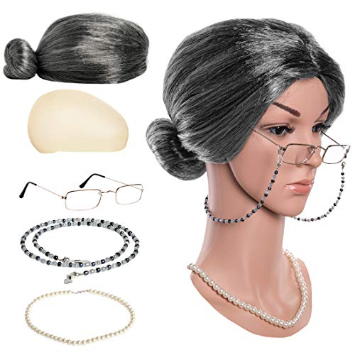 Zivyes Old Lady Costume Granny Wig,Wig Cap,Madea Granny Glasses,Eyeglass Chains,Pearl Beads Accessories for Dress up (C)