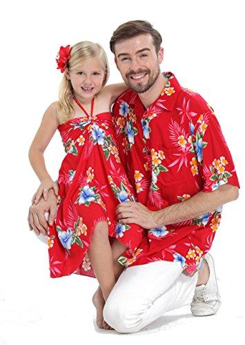 Matching Father Daughter Hawaiian Luau Cruise Outfit Shirt Dress Various Patterns Hibiscus Red