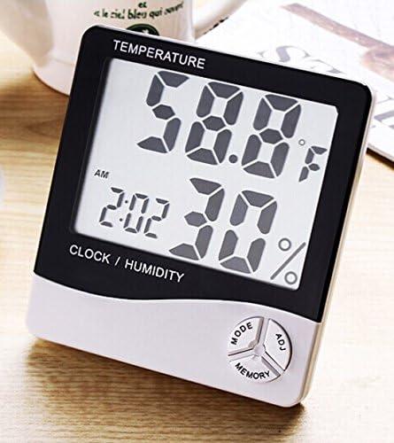 UK Room Indoor Thermometer Clock LCD Humidity Temperature Meter Hygrometer