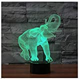 3D Elephant Night Light 7 Color Change LED Table Desk Lamp Acrylic Flat ABS Base USB Charger Home Decoration Toy Brithday Xmas Kid Children Gift