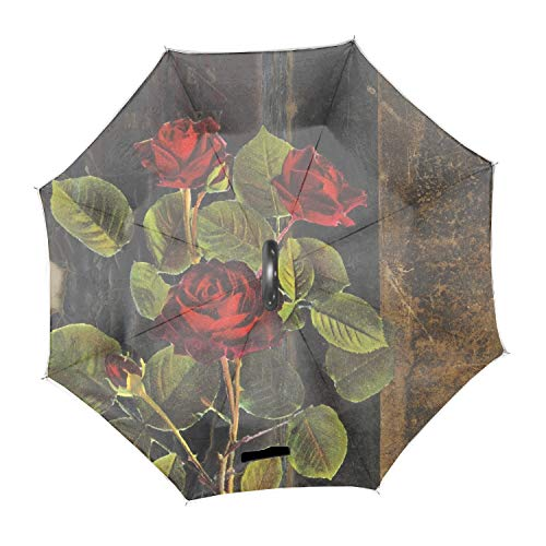 Automatic Compact Travel Umbrella with Reverse and Safe Lock Design, Teflon Auto Open Close Folding Strong Windproof Black Glass Rose Umbrella