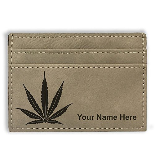Money-Clip-Wallet-Marijuana-Leaf-Personalized-Engraving-Included-Light-Brown