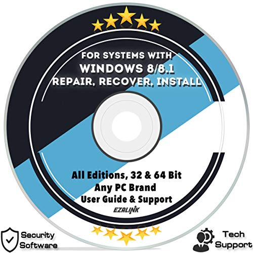 Ezalink Disc for Windows 8.1 Repair Recovery Install Restore Boot Fix DVD | 32 & 64 Bit Systems Home & Professional All Brands w/ AntiVirus and Support