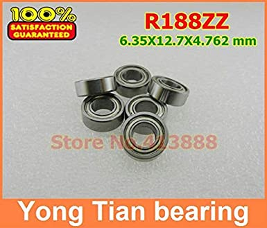 "Double Metal Shielded Ball Bearing R188 1//4/""x 1//2/""x 3//16/"" 10 PCS R188ZZ"