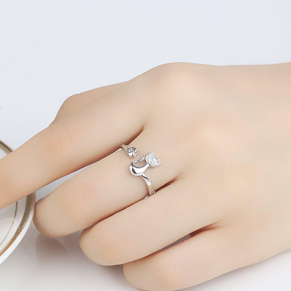 bigboba Elegante Damen Ring Creative Personalisierte Diamant Katzen Verstellbare /Öffnung Kristall Ring Hochzeit Schmuck Zubeh/ör silber M metall