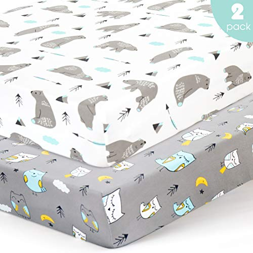 BROLEX Stretchy-Crib-Sheets-Set 2 Pack Portable Crib Mattress Topper for Baby Boys Girls,Ultra Soft Jersey Knit,Owl & Bear