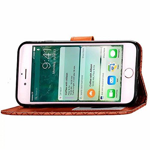 EKINHUI Case Cover Apple IPhone 6S Plus Fall-Rasterfeld-spinnender Muster-Fall PU-lederner Fall mit Karten-Schlitz-Foto-Rahmen-Schlag-Standplatz-Fall-Abdeckung für Apple IPhone 6S Plus ( Color : Brown
