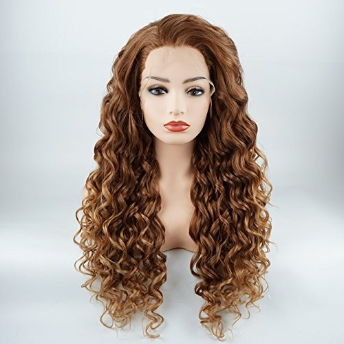 Meiyite Hair Curly Long 26inch Auburn and Honey Blonde Ombre Half Hand Tied Heavy Density Synthetic Lace Front Wigs ()