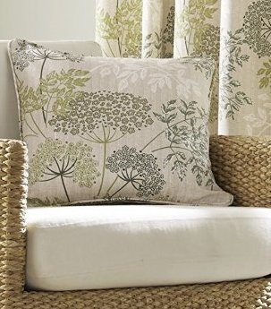 Green Curtains cream green curtains : Elderberry Green Grey Stone Cream Floral Printed Cushion Cover 18 ...