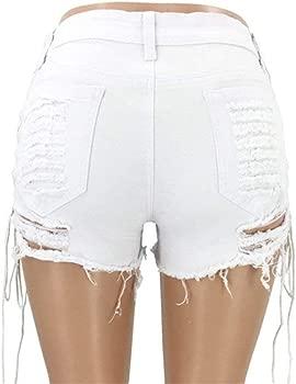 Mujer Agujero Pantalones Cortos De Mezclilla Vendaje Moda Casual ...