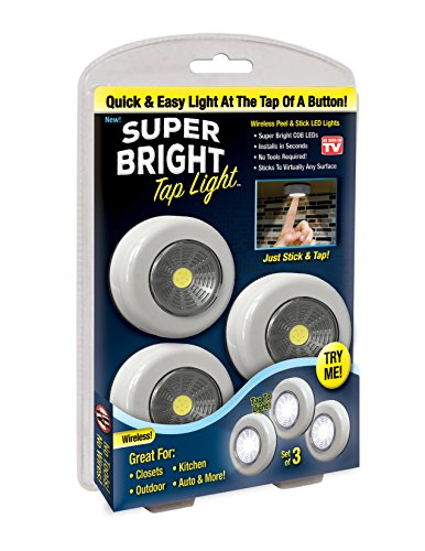 Super Tap (Super Bright Tap Light 3-Pack Wireless Peel and Stick COB LED Lights - Tap Light, Touch, Night, Utility, Under Cabinet, Shed, Kitchen, Garage, Basement, 3 AAA batteries included, White)