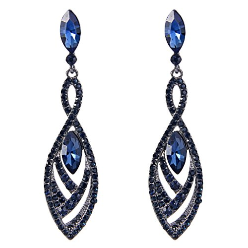 EVER FAITH Womens Crystal Double Marquise Shape Dangle Earrings Blue Sapphire-Color Black-Tone