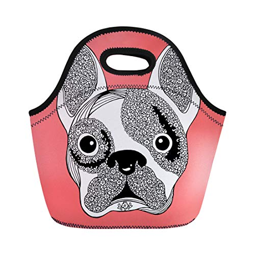 Semtomn Neoprene Lunch Tote Bag Bull French Bulldog Sugar Skull Frenchie Cute Dog Abstract Reusable Cooler Bags Insulated Thermal Picnic Handbag for Travel,School,Outdoors,Work