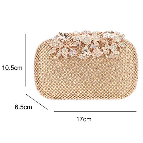 Bonjanvye Flower Crystal Rhinestones Purses Clutch Evening With Ab Bags Gold qCwTUdrqx