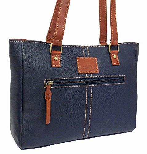 Damen Leder Tasche, Umhängetasche Leder, Damentasche, Ledertasche, Schultertasche Leder, Handtasche, Damen Handtasche, Shopping-Tasche, Echtleder - Blau