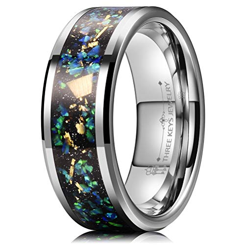 THREE KEYS JEWELRY 8mm Tungsten Rings Silver Carbide Galaxy Opal Stone Gold Metal Foil Beveled Edge Wedding Bands for Men Size 10.5