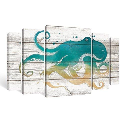 SUMGAR Large Wall Art Living Room 5 Piece Canvas Paintings Farmhouse Decor Ocean Pictures Costal Prints Octopus Artwork Set