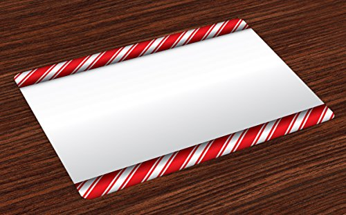 Ambesonne Candy Cane Place Mats Set of 4, Horizontal Borders