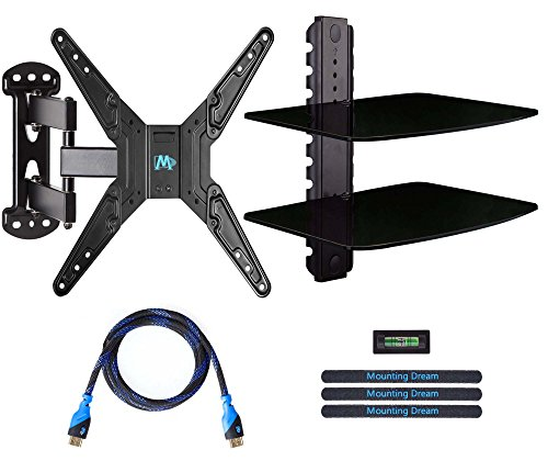 Mounting-Dream-MD2413-KT-Full-Motion-TV-Wall-Mount-and-DVD-Floating-Shelf-with-Two-Tier-DVD-Shelves-TV-Mount-Fits-for-Most-of-26-55-Inch-TVs-up-to-66-LBS-with-Max-VESA-of-400-x-400mm-20-Extension