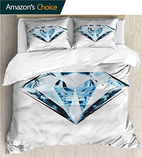 - VROSELV-HOME Print Comforter Quilt Set,Box Stitched,Soft,Breathable,Hypoallergenic,Fade Resistant with 2 Pillowcase for Kids Bedding-Diamonds Single Treasure Figure (104