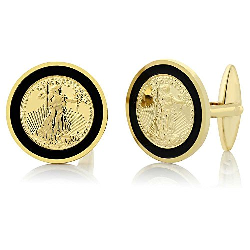Gem Stone King 24k Yellow Gold Plated Walking Liberty Coin Cufflinks for Men 22MM in - Cufflinks Gold Green Plated