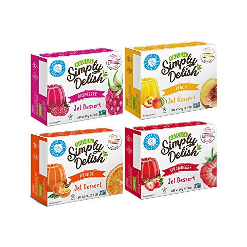 (Simply Delish Sugar-Free Gluten-Free Natural Jel Dessert 4 Flavor Variety Bundle, (1) Each: Raspberry, Peach, Strawberry, and Orange (.7 Ounces))