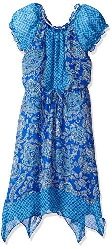 Speechless Girls' Big Chiffon Pesant Cap Sleeve Hanky Hem Dress, Blue/Turquoise - Dress Chiffon Hanky Hem