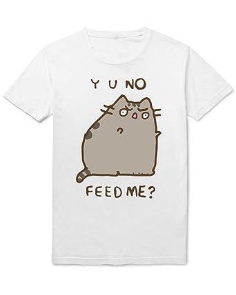 Facebook Pusheen Cat Y U No Feed Me Mens Tshirt XX Large