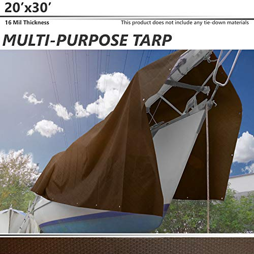 BOUYA 20' x 30' Tarp 16-mil Super Heavy Duty Thick Material, Multi-Purpose Waterproof Reinforced Rip-Stop with Grommets, UV Resistant, Tarpaulin Canopy Tent, Boat, RV or Pool Cover, - Heavy Canopy Duty Super