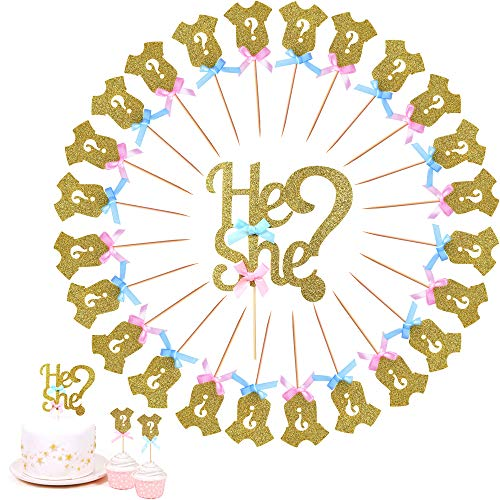 Baby Show Cup Cake Toppers Gender Reveal Party Supplies Baby Shower Cupcake Toppers Decoration DIY Cake Decor 25 PCS ()