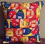 M&M Pillow M&M Tic Tac Design Pillow All Our Pillows Are Handmade Hypoallergenic Cotton with Flannel Backing Ideal for Gift and Multiple Uses