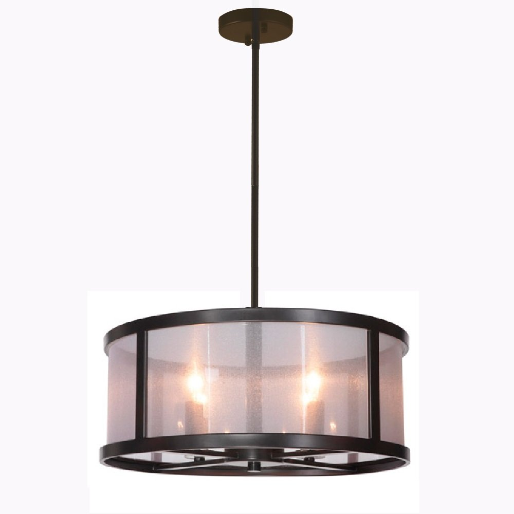 Danbury 18'' Danbury 4 Light Semi Flush Mount Light Fixture with Organza Wrapped Fabric, Matte Black Ceiling Light Fixture Pendant Chandelier