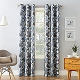 No. 918 Celestial Geometric Print Grommet Curtain Panel, 48″ x 63″, Nickel Gray