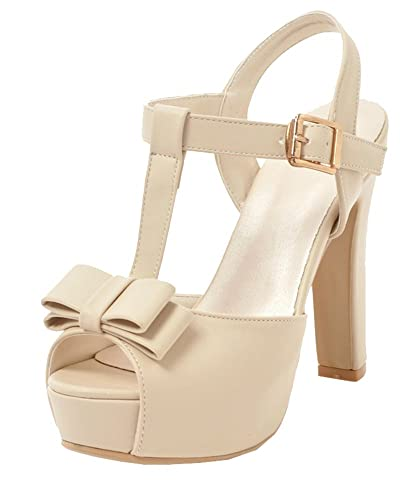 522ae2e5b SHOWHOW Women s Comfy Platform Buckle Sandals - T-Strap Bow Party Shoes -  High Chunky