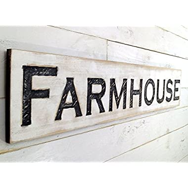 Farmhouse Sign Horizontal - Carved in a 48  Wide Cypress Board Rustic Distressed Shop Advertisement Farmhouse Style Restaurant Cafe Wooden Wood