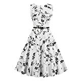 Filfeel Dresses Women, Sleeveless 50s Cocktail Party Swing Vintage Dress with Belt