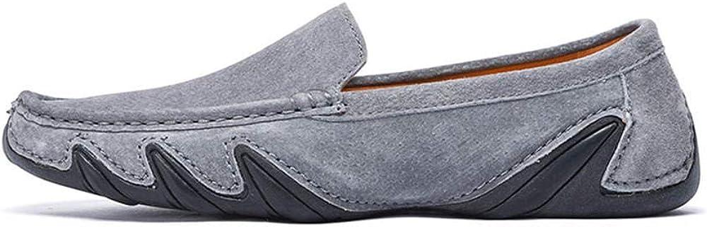 Uomo Mocassini Scamosciato Scarpe di Guida Moda Pantofole Scarpe da Passeggio Casual Scarpe da Lavoro in Pelle Leggere da Lavoro Formale Formale comode Grigio Più Velluto