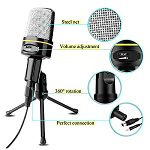 USHAWN Condenser Microphone Professional Studio Recording Mic with Tripod Stand for Broadcasting, Chatting, Interview, Video Conference, YouTube Recording, Perfect Fit Your PC, Laptop and Phones