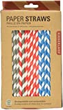 Kikkerland Biodegradable Stripe Paper Straws, Multicolored, Box of 144