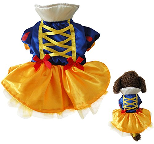 [EXPAWLORER Snow White Dog Costumes Christmas Party Clothes, Dress for Princess Girl Medium] (Hollywood Stars Halloween Costumes Ideas)