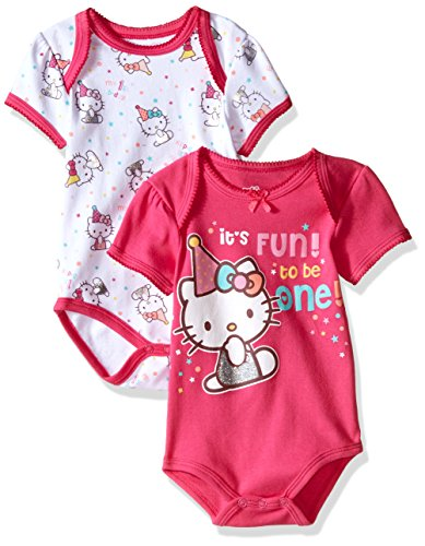 Hello Kitty Baby Girls' 2 Pack Bodysuits, Fuchsia Purple, 18 Months