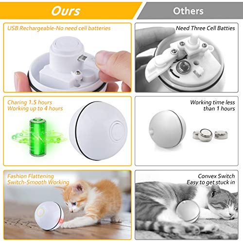 Interactive Cat Toys Ball, Self Rotating Cat Toy, Newest Version USB Rechargeable Pet Toy,Buit-in Spinning LED Light, Stimulate Hunting Instinct for Your Cat/Kitty/Kitten/Pets (White) 3