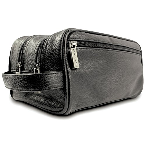 Karl & Jacob Handcrafted PU Leather Toiletry Bag Men Dopp Kit Portable Travel Organizer-Four Zip Pockets & Two Zip Compartments