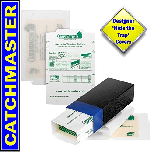 Catchmaster Glue Traps and 'Hide the Trap' Blue Covers 10 Pack. Catch Mice, Insects, Bed Bugs, Spiders, Crickets, Roaches and Mouse. Peanut Butter Scented Sticky Boards Pest ()