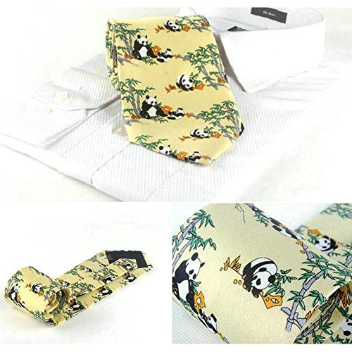 Neckties Panda Men Pattern Ties Scarf Bow Yellow Fashion Neckcloth Neckwear PwRZ1