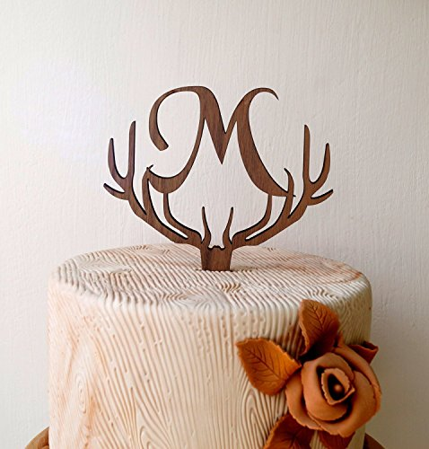 monogram antlers cake topper rustic wedding cake topper deer antler topper initial letter cake decoration cake dcor monogram topper
