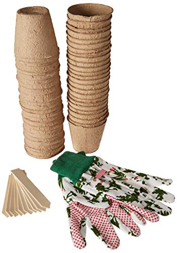 Eco-Sense 3 inch Peat Pots for Seedlings Bulk 50 Pack - Bonus Pair of Cotton Gloves and 10 Wooden Plant Markers Seed Starter - Organic Biodegradable Seedling Pots
